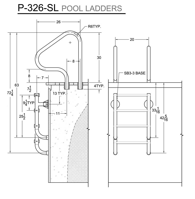 innovation swimming pool steps.  P 326 SL3 Pool Ladder Measurements Innovative Products Ladders cover compatible
