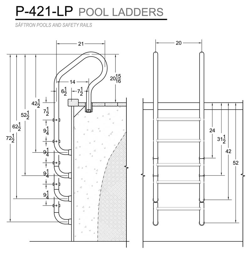 Innovative pool products pool ladders saftron 4 step for Pool design regulations