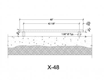 X-48 Exercise Bars Measurements - Pool Rails